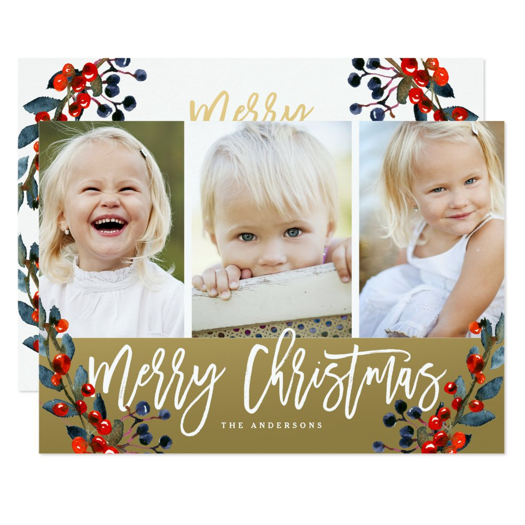 Merry Christmas Berries 3 Photo Holiday Card