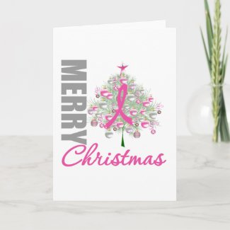 Merry Christmas Breast Cancer Pink Ribbon Wreath card