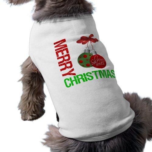 Merry Christmas Bulb Ribbon Ornanment petshirt