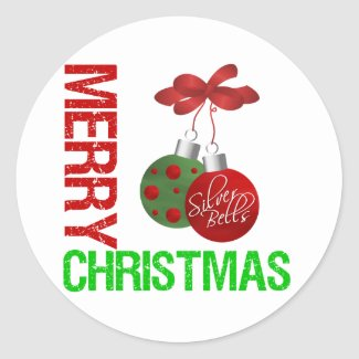 Merry Christmas Bulb Ribbon Ornanment sticker