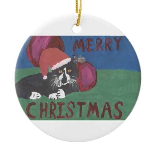 Merry Christmas Cat ornament