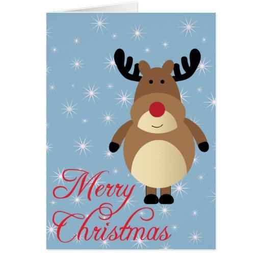Merry Christmas Cute Reindeer Card Zazzle