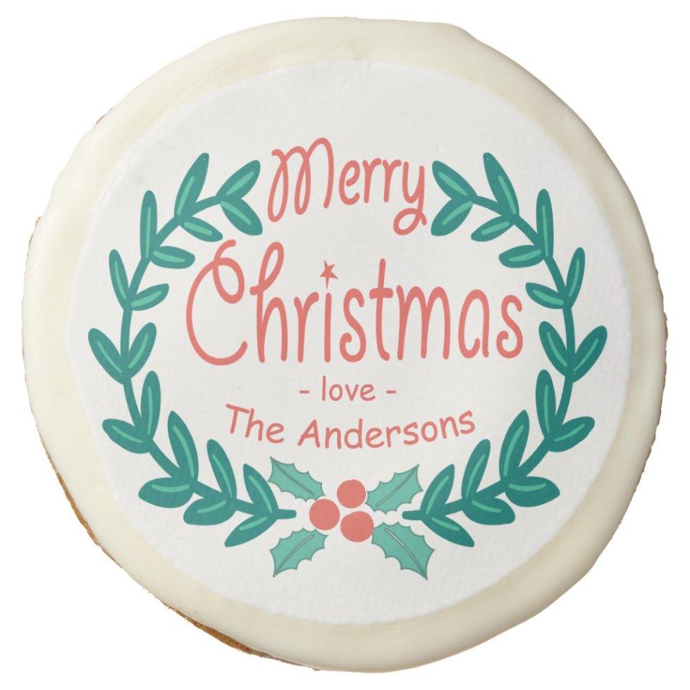 MERRY CHRISTMAS HAND-DRAWN WREATH SUGAR COOKIE