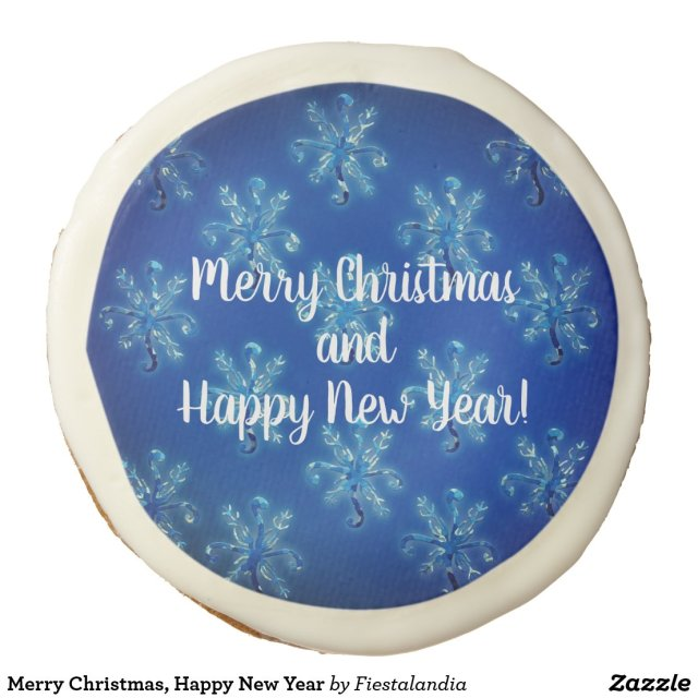 Merry Christmas, Happy New Year Sugar Cookie