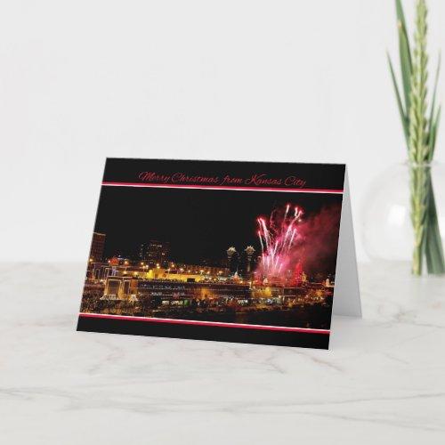 Merry Christmas Kansas City Plaza Lights Fireworks Greeting Card