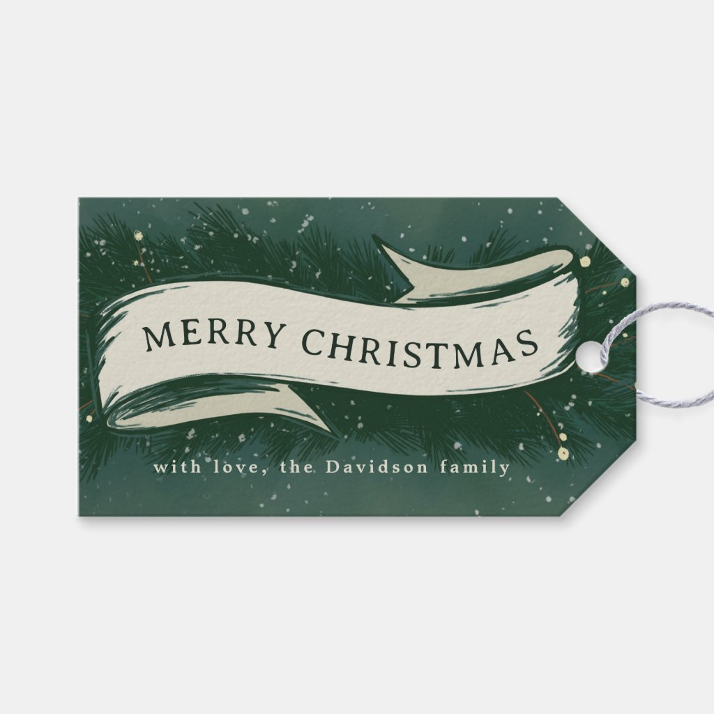 Merry Christmas Pine Bough Banner Hand-Painted Gift Tags