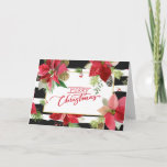 Merry Christmas Poinsettias, Black Stripes Card