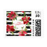Merry Christmas Poinsettias, Black Stripes Postage