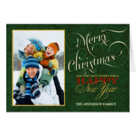 Merry Christmas Retro Photo Greeting Card