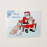 Merry Christmas - Santa Claus with Cat and Dog Jigsaw Puzzle