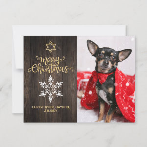 Merry Christmas Snowflake and Wood Dog Photo Card
