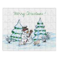 Merry Christmas! Snowman with Cat and Puppy Jigsaw Puzzle