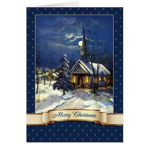 Merry Christmas Vintage Church Greeting Cards Zazzle