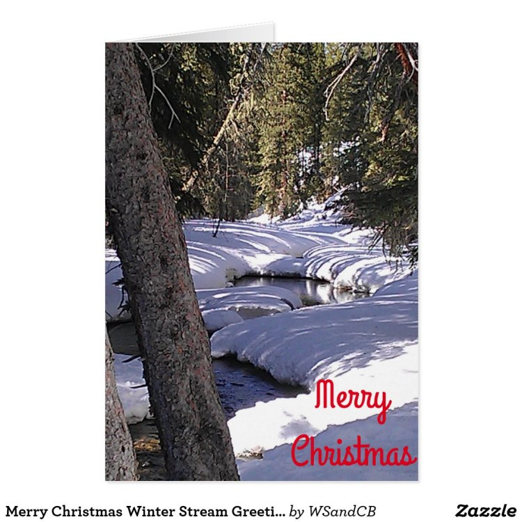 Merry Christmas Winter Stream Greeting Card