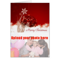 Merry Christmas with red bauble add photo Cards