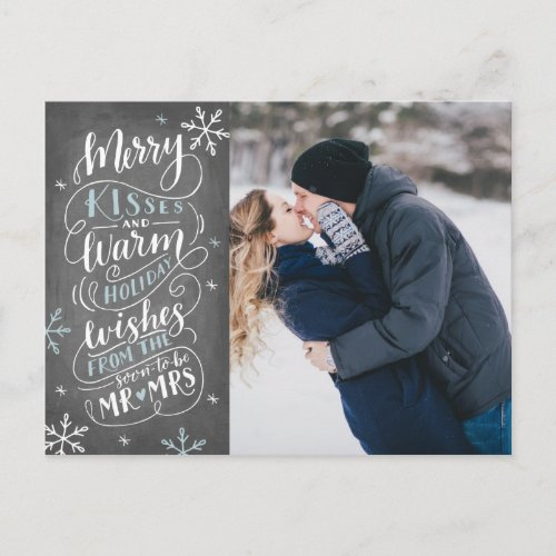 Merry Kisses Warm Wishes Save The Date Photo Announcement Postcard