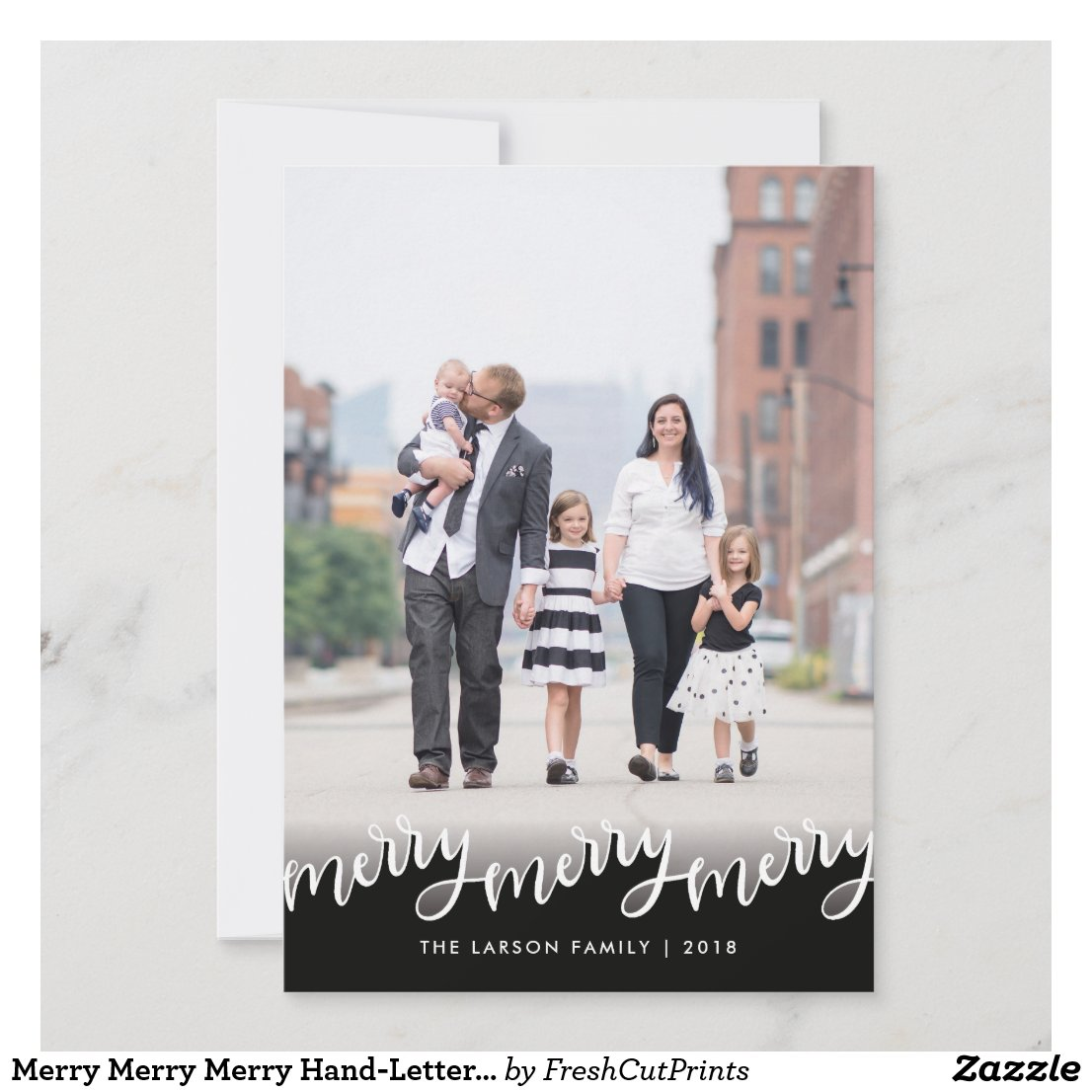 Merry Merry Merry Hand-Lettered Overlay Christmas Holiday Card