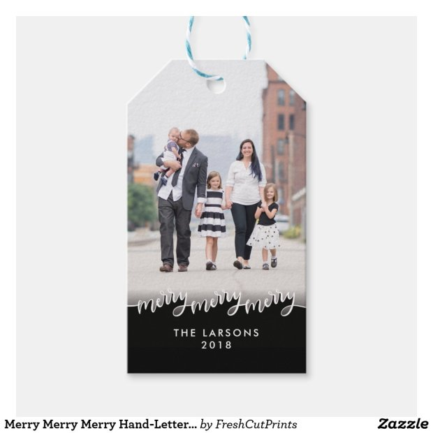 Merry Merry Merry Hand-Lettered Photo Holiday Gift Tags