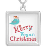 Merry Vegan Christmas Silver Plated Necklace