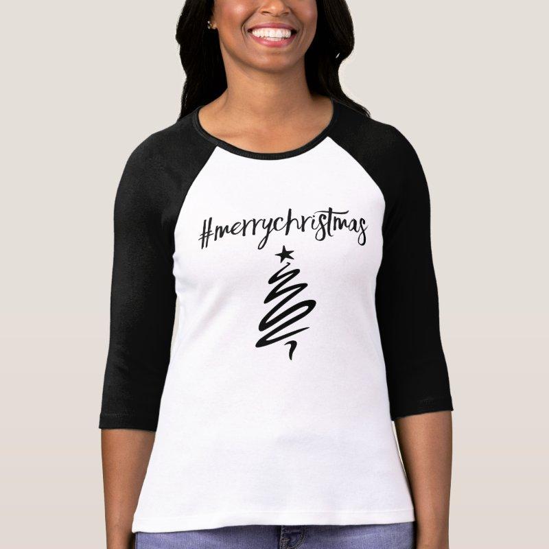 #MerryChristmas hashtag tshirt
