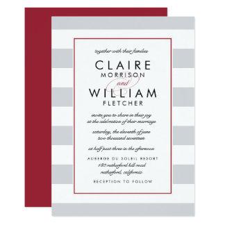 Metro Stripe Wedding Invitation Cranberry