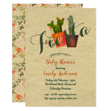 Mexican Fiesta Baby Shower Rustic Cacti Cactus Invitation