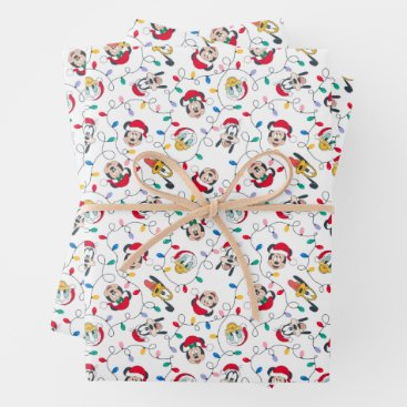 Mickey & Friends | Christmas Lights Pattern Wrapping Paper Sheets