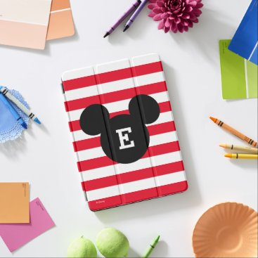 Mickey Head Silhouette Striped Pattern | Monogram iPad Air Cover