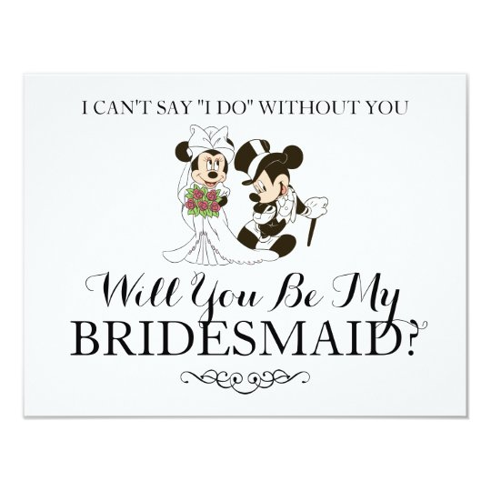 Mickey Minnie Wedding Married Bridesmaid Invitation