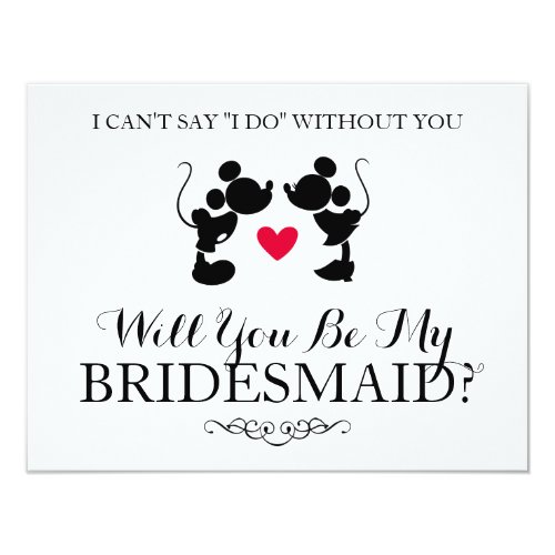 Mickey &amp&#x3B; Minnie Wedding | Silhouette Bridesmaid Invitation