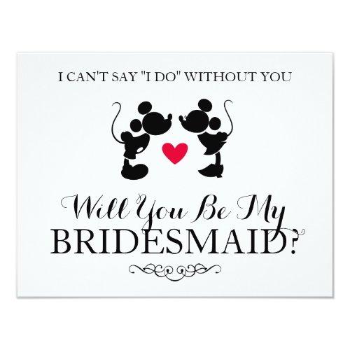 Mickey & Minnie Wedding   Silhouette Bridesmaid Invitation