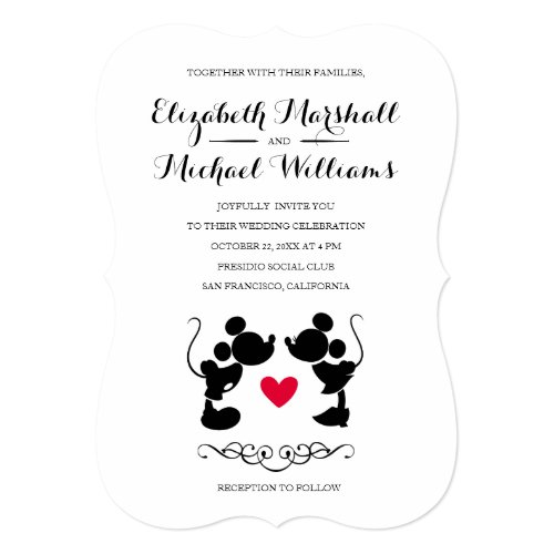 Mickey & Minnie Wedding   Silhouette Invitation