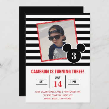 Mickey Mouse   Black & White Stripe Photo Birthday Invitation
