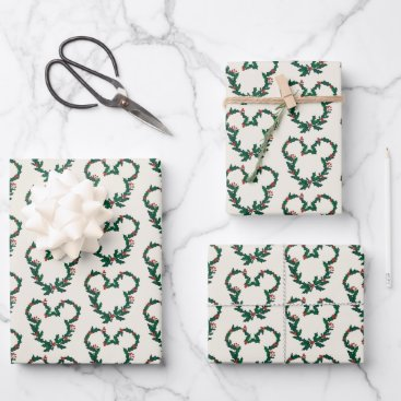 Mickey Mouse Holiday Wreath Wrapping Paper Sheets