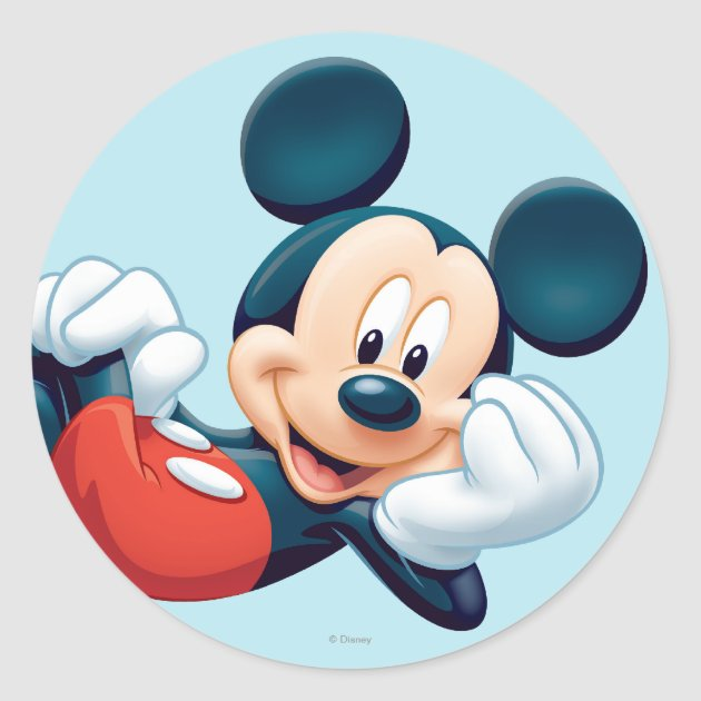 Mickey Mouse Laying Down Classic Round Sticker