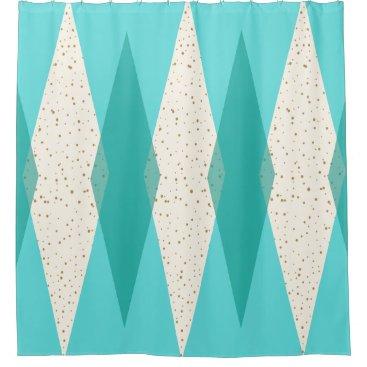 Mid Century Modern Argyle Shower Curtain