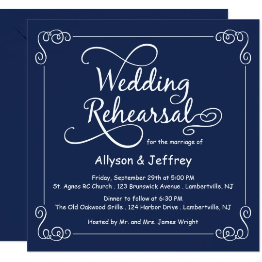 Midnight Blue Wedding Rehearsal Invitation