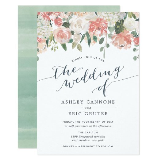 a4b77a3996509 Midsummer Watercolor Floral Wedding Invitation -
