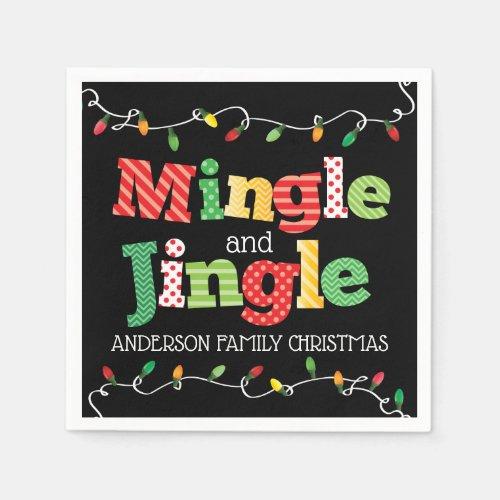 Mingle and Jingle Christmas Lights Napkin