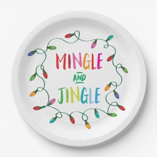 Mingle and Jingle Christmas Lights Paper Plate
