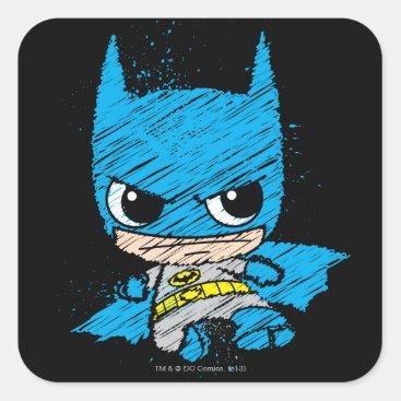 Mini Batman Sketch Square Sticker