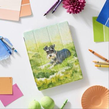 Miniature Schnauzer Watercolor Digital Art iPad Smart Cover