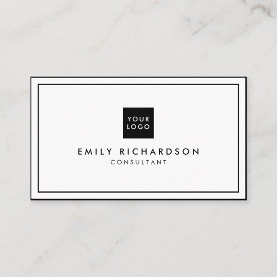 Minimalist elegant black white professional logo business card
