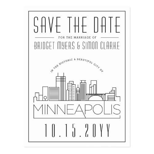 Minneapol Wedding   Stylized Skyline Save the Date Postcard