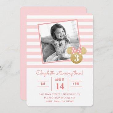 Minnie Mouse | Gold & Pink Striped Photo Birthday Invitation