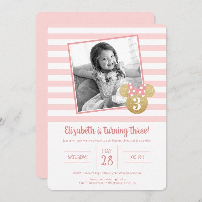minnie mouse gold pink virthal birthday invitation zazzle com