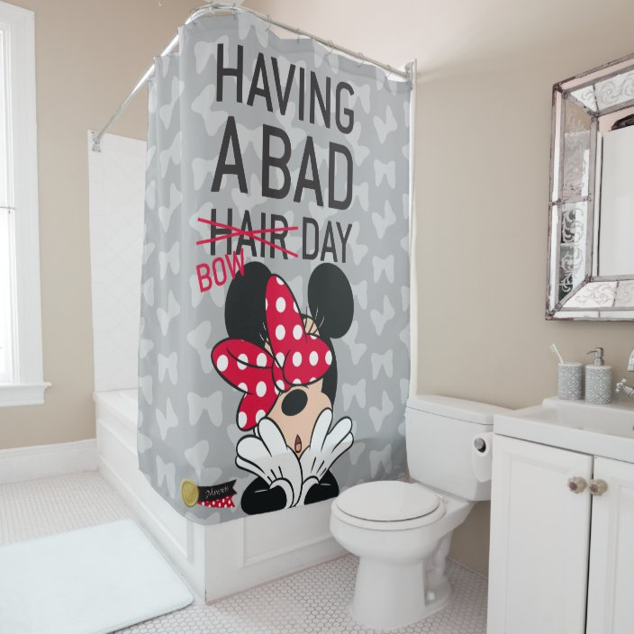 minnie mouse having a bad bow day shower curtain zazzle com