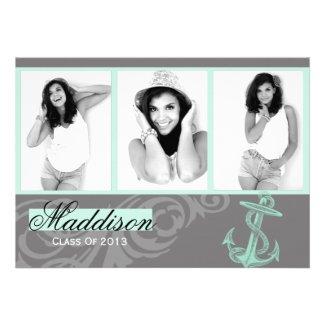 Mint Anchor Photo Graduation Flat Card