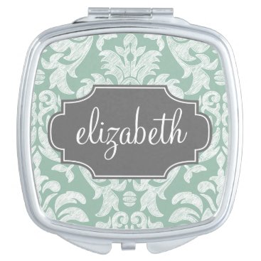 Mint and Gray Damask Pattern Custom Name Mirror For Makeup