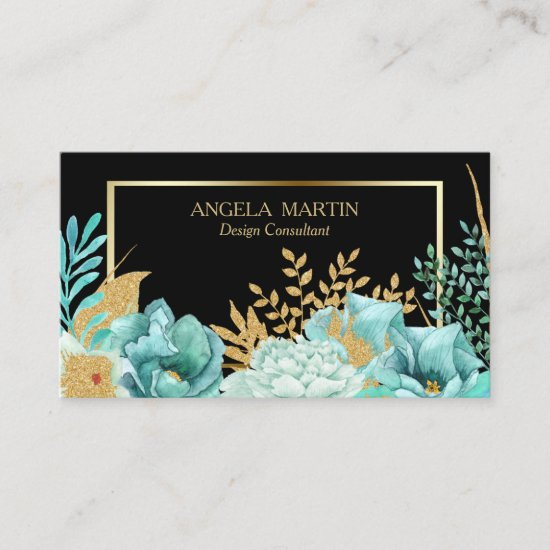 Mint Floral Gold Frame Professional Business Card